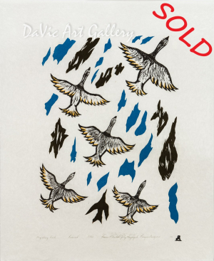 'Migrating Birds' by Annie Pitsiulak - Inuit Art - Pangnirtung 2006 presented by DaVic Gallery of Native Canadian Arts.