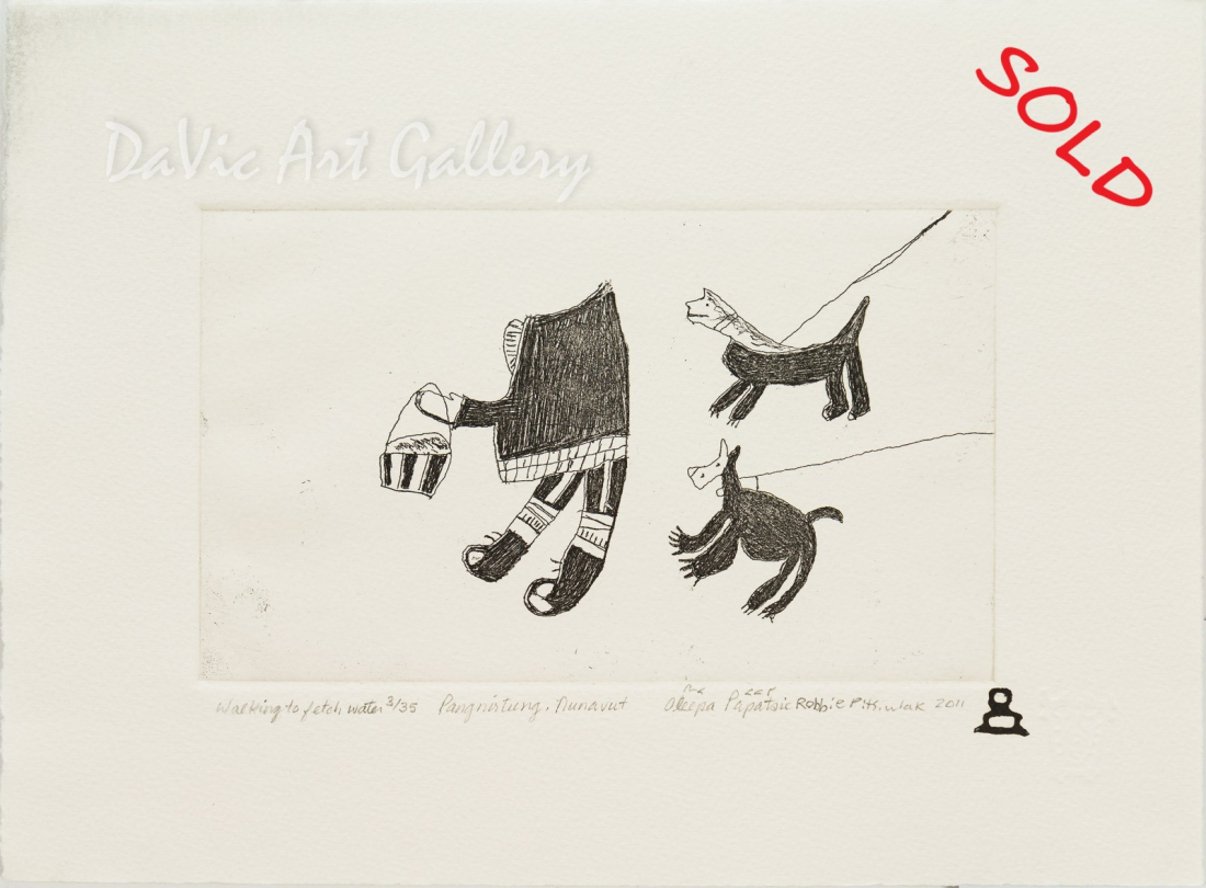 'Walking to Fetch Water' by Ooleepa Papatsie - Inuit - Pangnirtung 1989