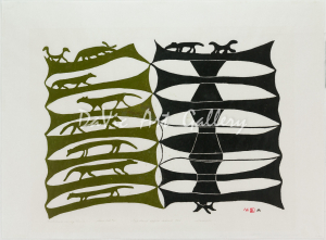 'Reflections in my Mind' by Sheouak Petaulassie - Inuit Art from Cape Dorset 1960 print collection presented by DaVic Art Gallery