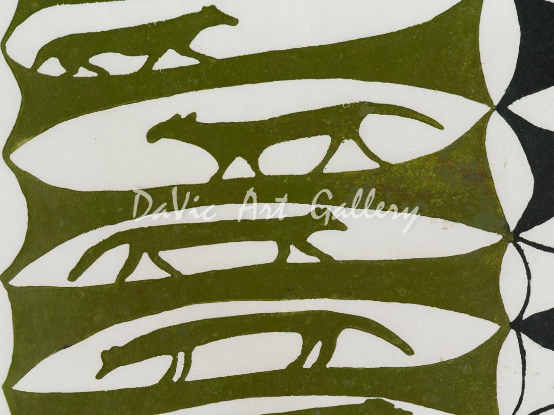 'Reflections in my Mind' by Sheouak Petaulassie - Cape Dorset 1960