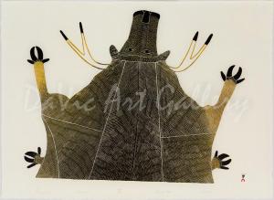 'Pungnialuk' by Pudlo Pudlat - Inuit Art - Cape Dorset 1978