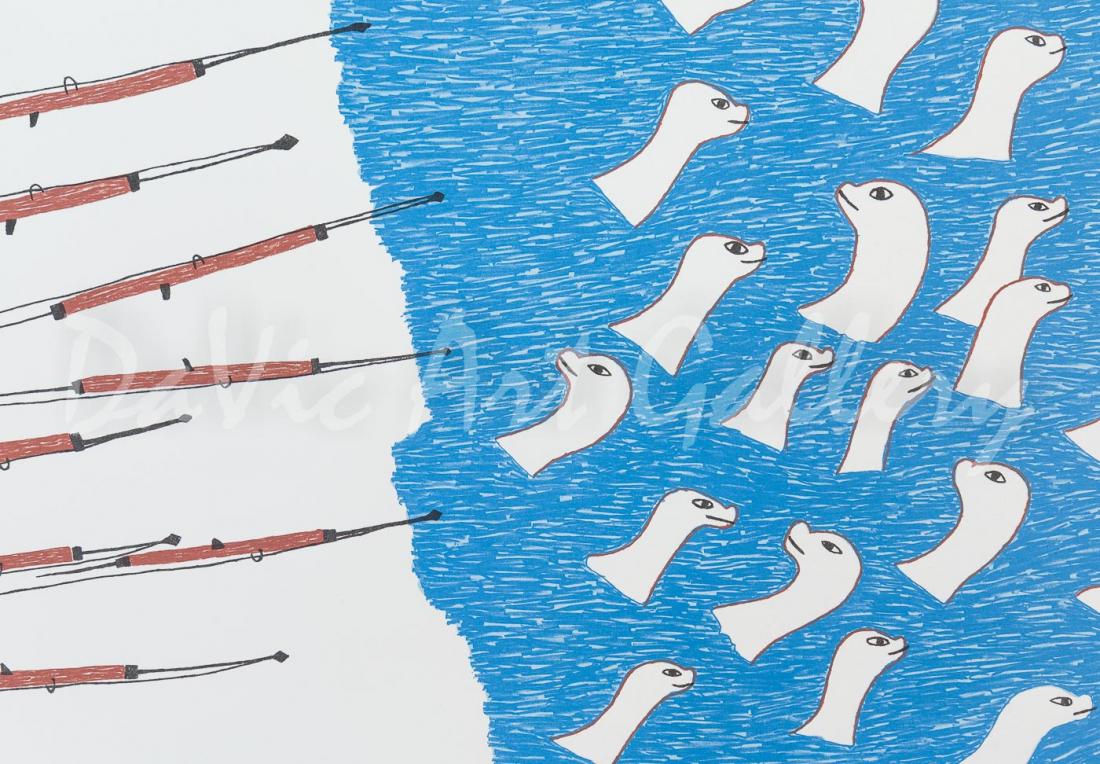 'Harpoons and Seals' by Pudlo Pudlat - Inuit Art - Cape Dorset 1981