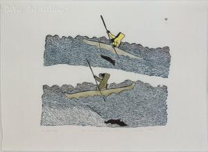 'The Kayak Hunters' by Pitseolak Ashoona