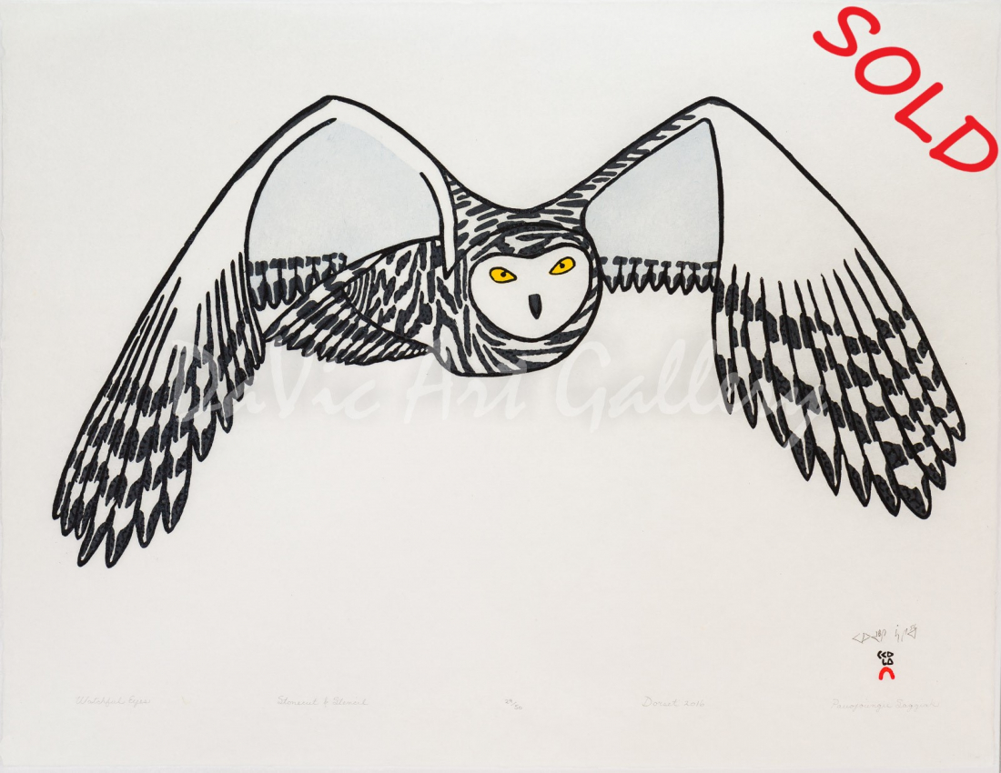 """""""Watchful Eyes"""" by Pauojoungie Saggiak - Inuit - Cape Dorset 2016"""