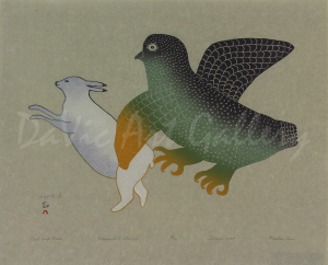 'Owl and Hare' by Mialia Jaw - Cape Dorset
