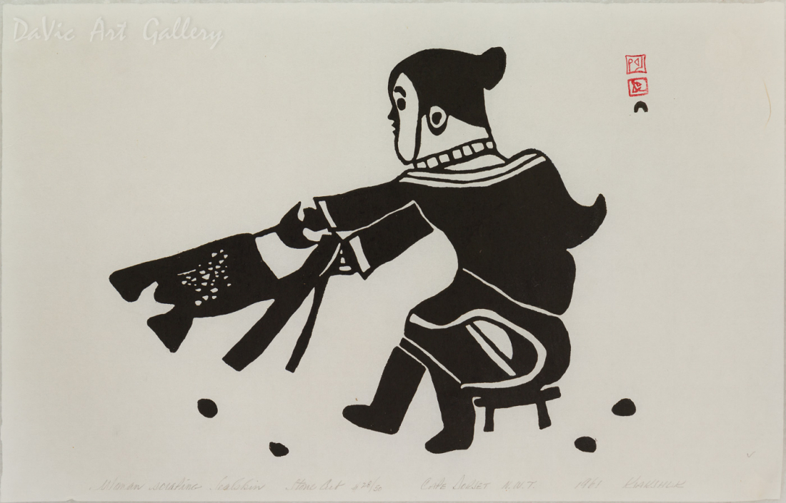 'Woman Scraping Sealskin' by Kiakshuk