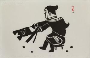 'Woman Scraping Sealskin' by Kiakshuk