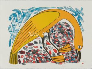 'Bird Among The Cairnes' by Kenojuak Ashevak