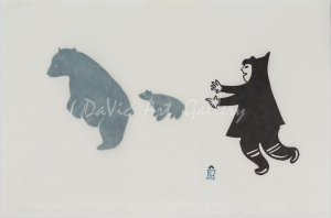 'Excited Man Forgets His Weapon' by Akesuk Tudlik - Inuit Art from Cape Dorset 1959 print collection presented by DaVic Art Gallery