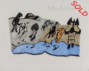 """""""Kigutik Malruk"""" by Thomas Iksiraq - Inuit - Baker Lake 1999"""