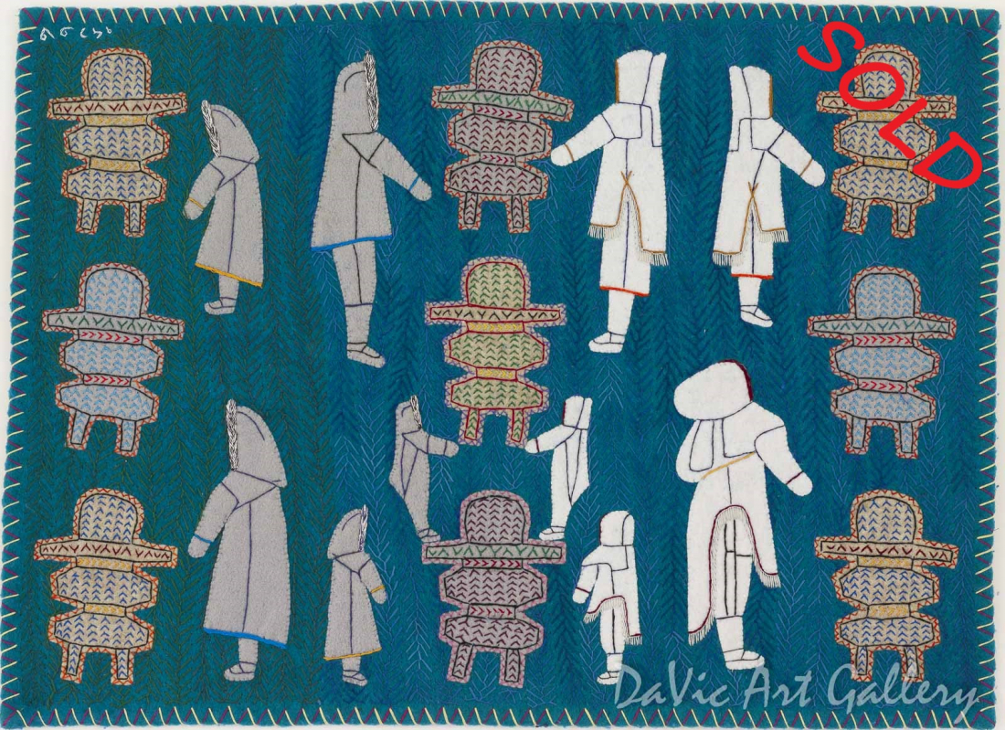 Untitled (People and Inuksuit) by Winnie Tarraq