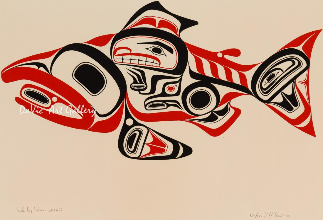 'Haida Dog Salmon – Skaagi' by Bill Reid - Northwest Coast Haida Art