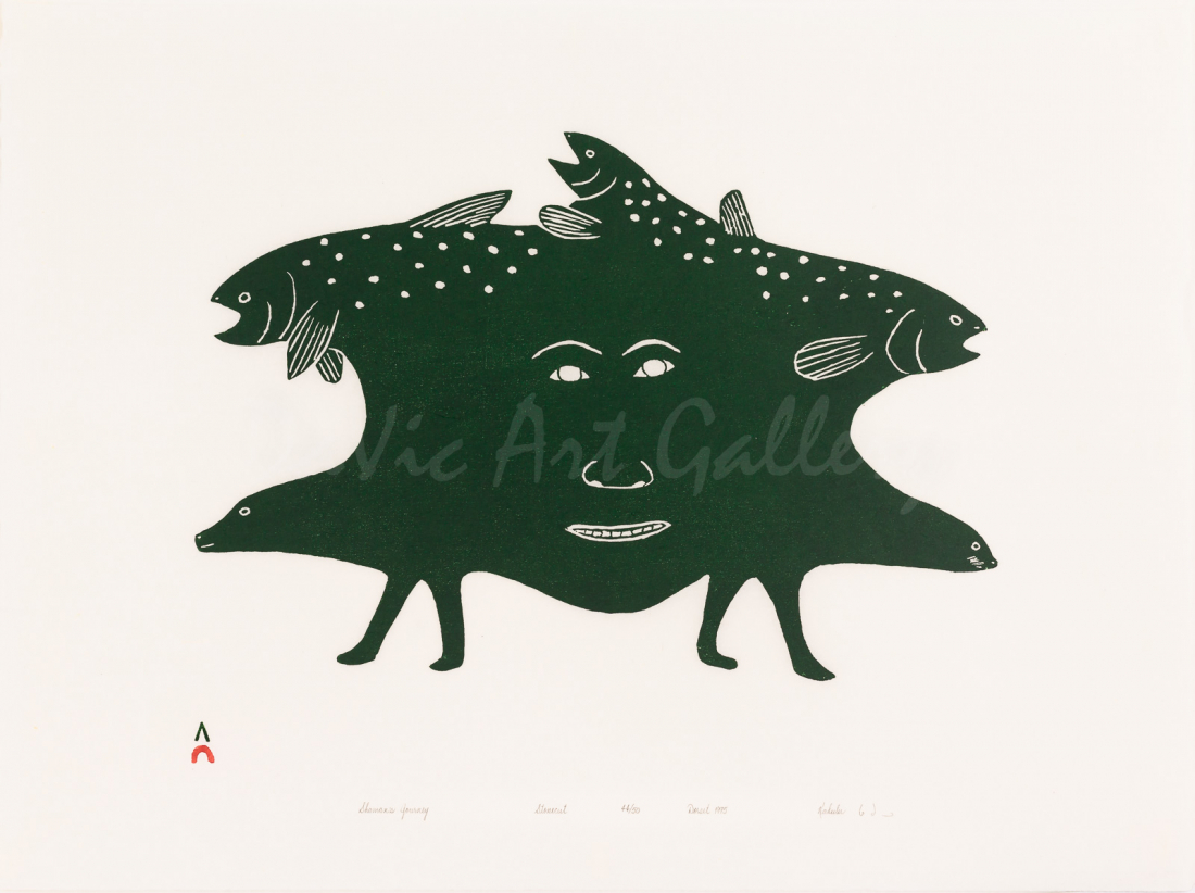 """Shaman's Journey"" by Kakulu Saggiaktok - Inuit - Cape Dorset 1995"
