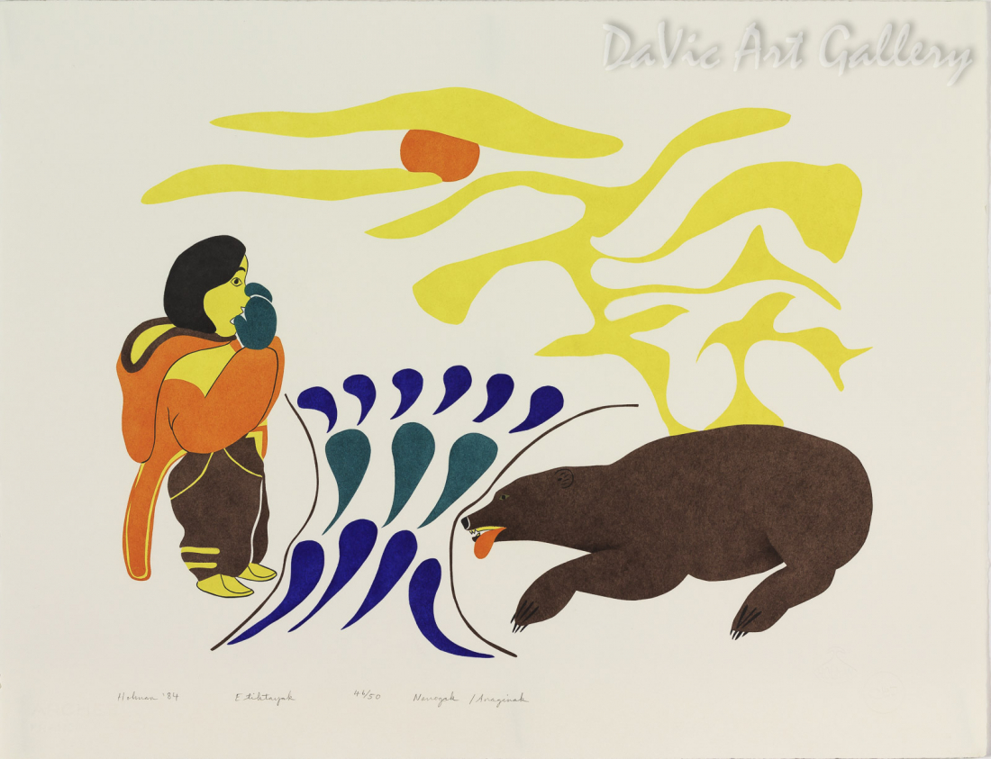 'Etiktayok' by Agnes Nanogak Goose - Inuit Art - Ulukhaktok (Holman) 1984