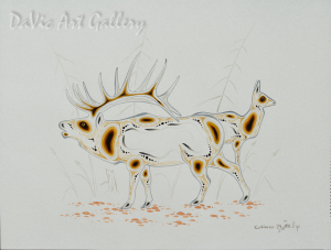 Bull Elk and Cow by Eddy Cobiness