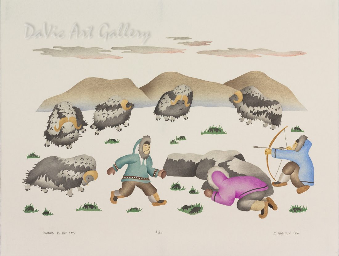 'Hunting is Not Easy' by Mabel Nigiyok - Inuit Art - Ulukhaktok (Holman) 1996