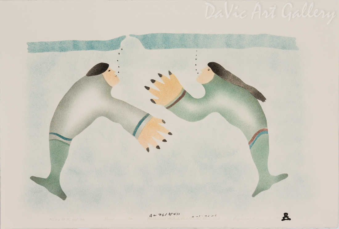 'Meeting at the Seal Hole' by Ananaisie Alikatuktuk - Inuit Art - Pangnirtung 1999