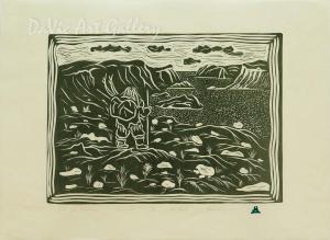 Back to Pangnirtung'Back to Pangnirtung' by Ananaisie Alikatuktuk - Inuit Art - Pangnirtung 2004