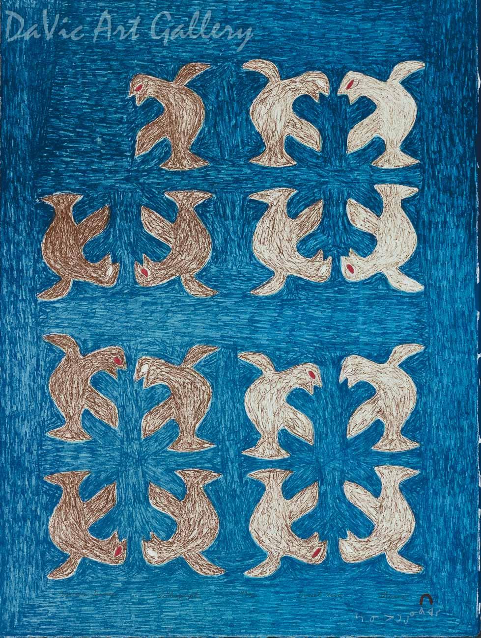 """""""Square Dance"""" by Sarni Pootoogook - Inuit - Cape Dorset 2000"""
