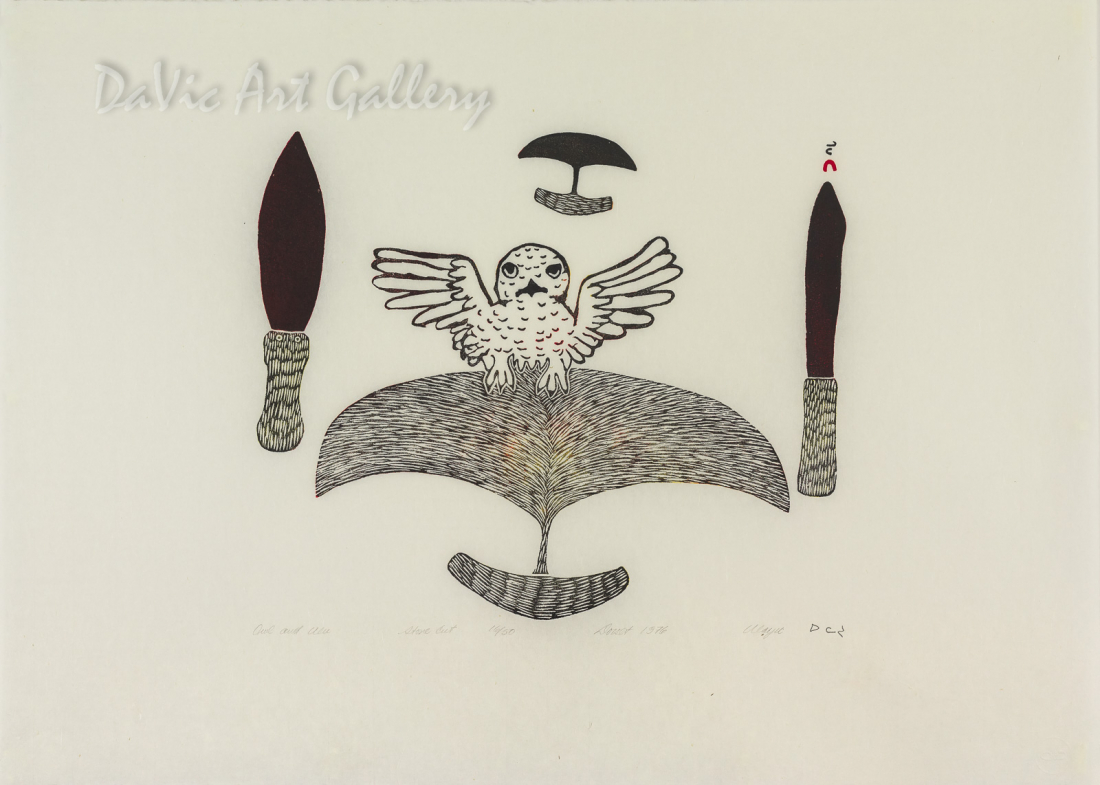 """Owl and Ulu"" by Ulayu Pingwartok - Inuit - Cape Dorset 1976"
