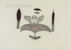 """Owl and Ulu"" by Ulayu Pingwartok - Inuit - Cape Dorset 1976"