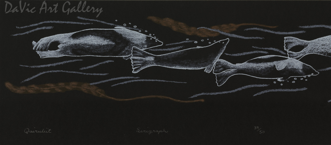 'Qairuliit (Harp Seals)' by Tim Pitsiulak - Inuit Art - Cape Dorset