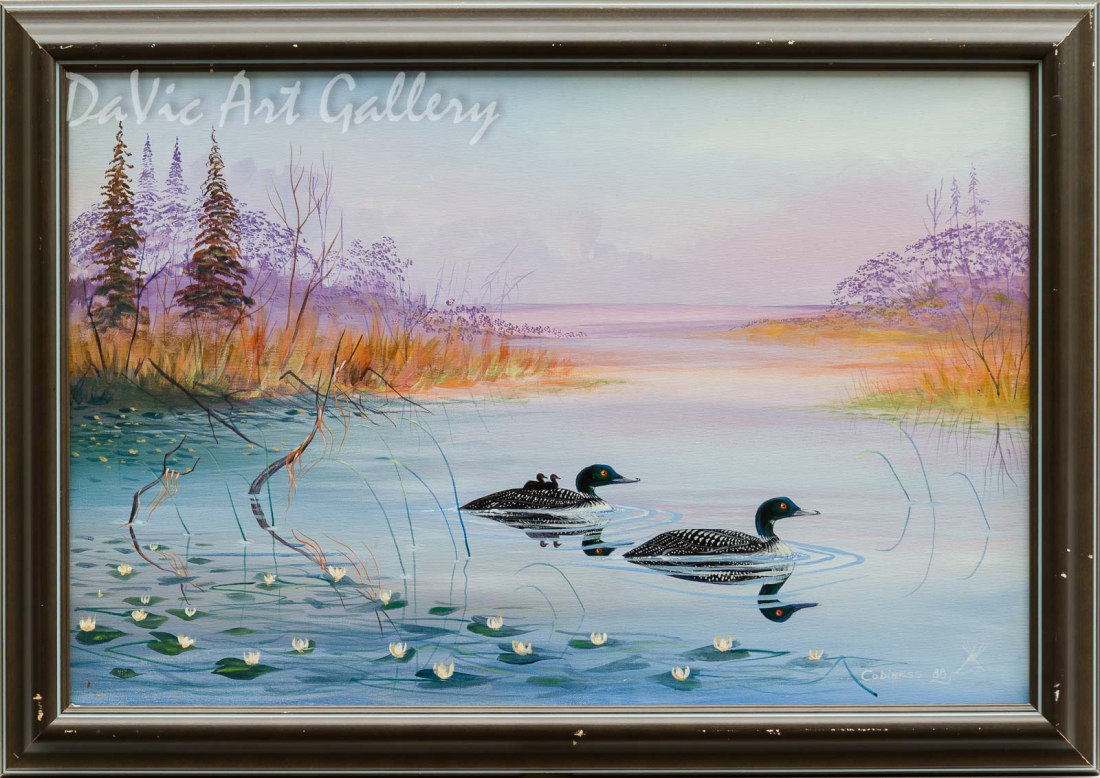 Untitled (Loon Family Swimming) by Eddy Cobiness 1988