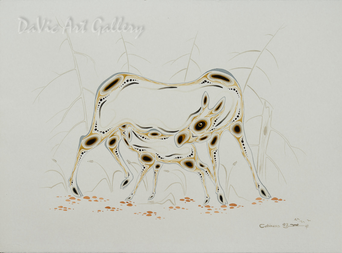 Untitled (Cow nurturing calf) by Eddy Cobiness 1993