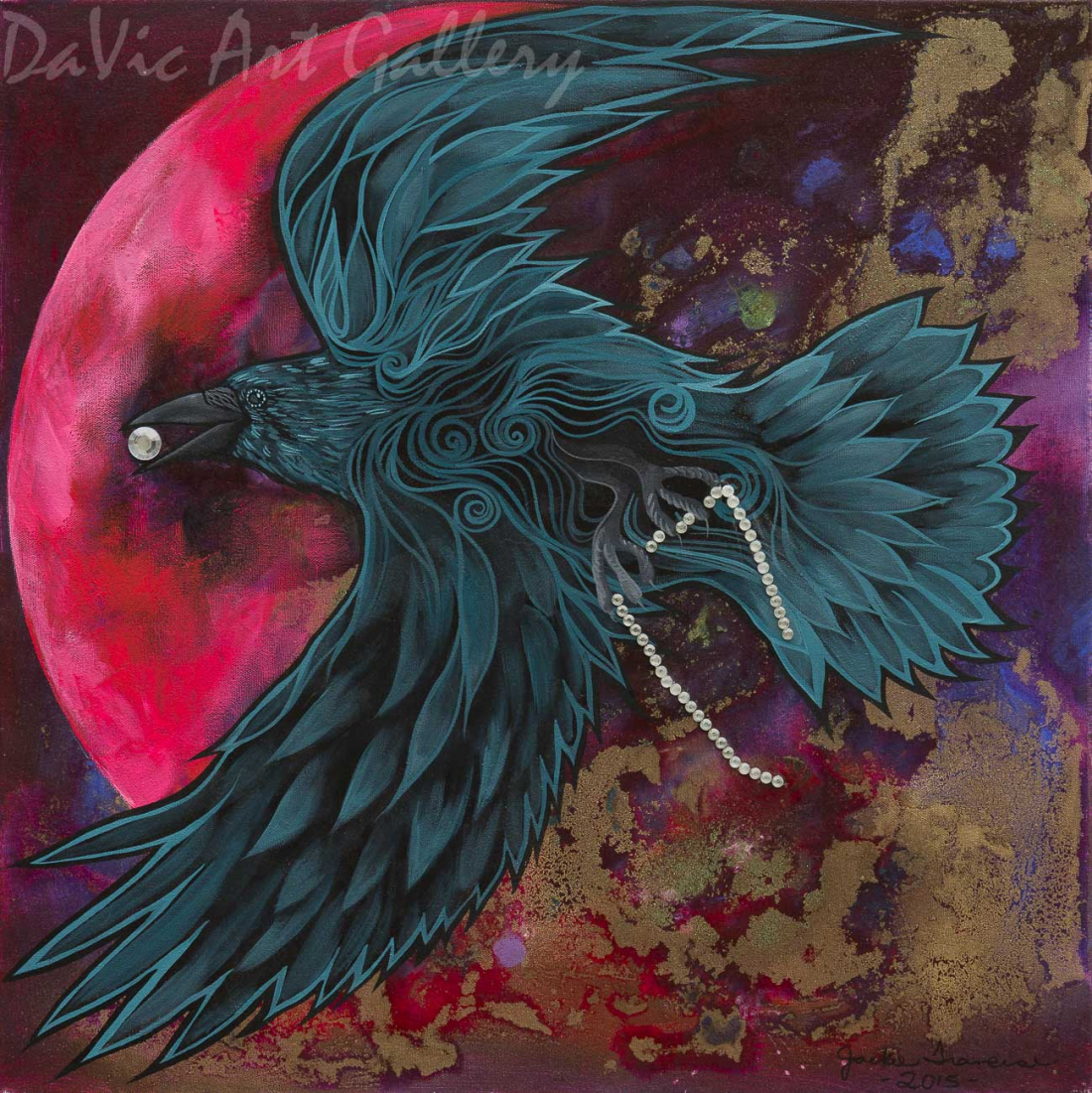 Raven Steals The Sun, Stars And Moon by First Nations Anishinaabe artist Jackie Traverse
