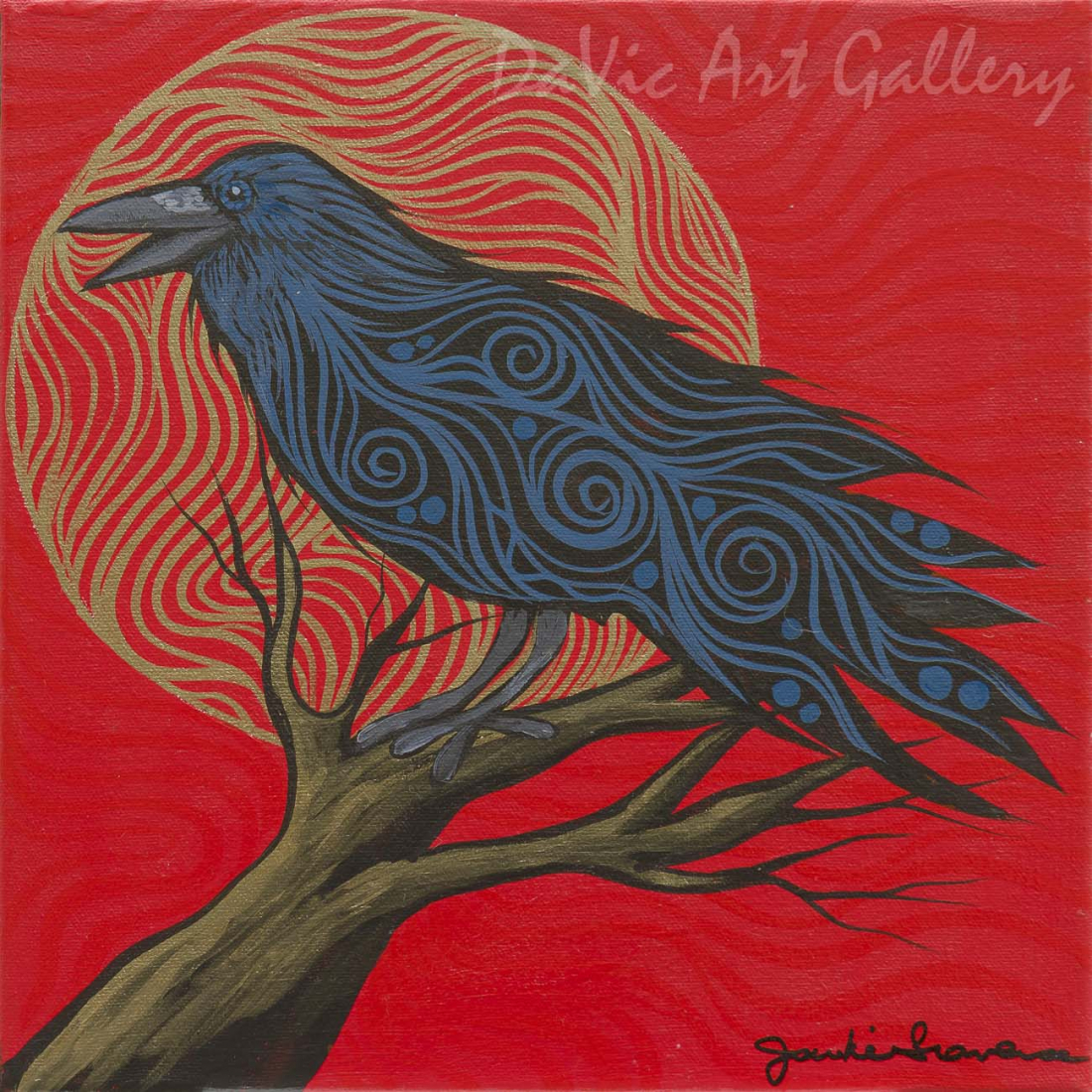 Man and the Ravens II by First Nations Anishinaabe artist Jackie Traverse