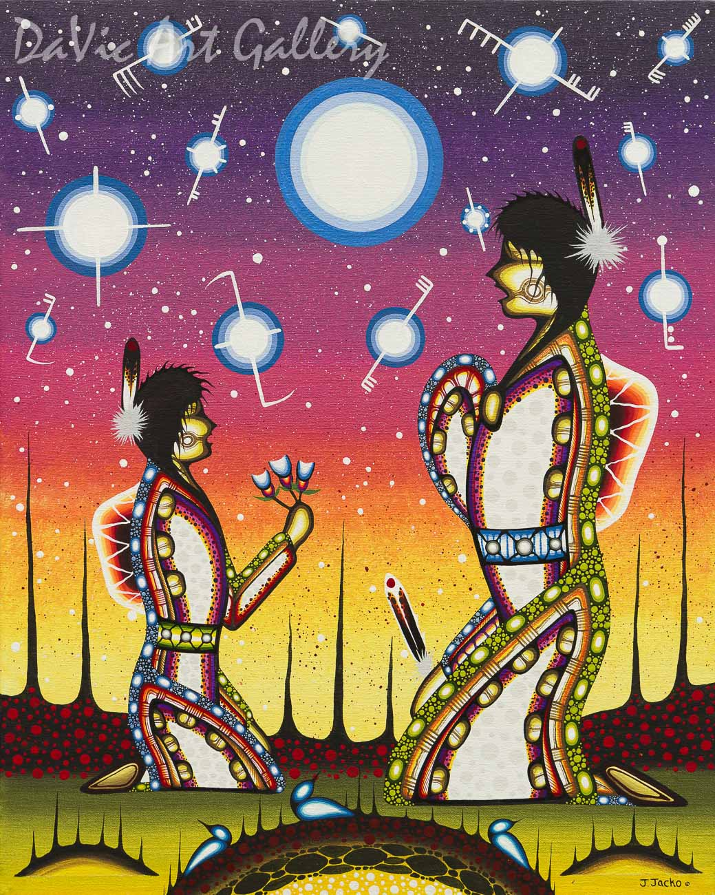 'Mother and Daughter Sharing Stories of Family and Friends' by First Nations Odawa artist James Jacko
