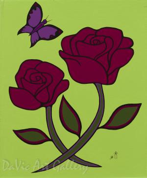 'Green Floral' by First Nations Ojibwe artist Jim Oskineegish