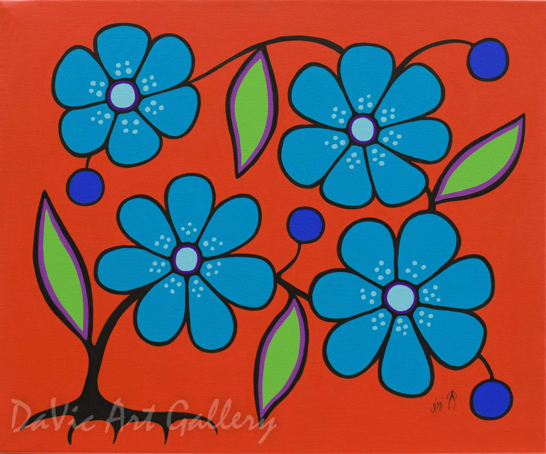 'Orange Floral' by First Nations Ojibwe artist Jim Oskineegish