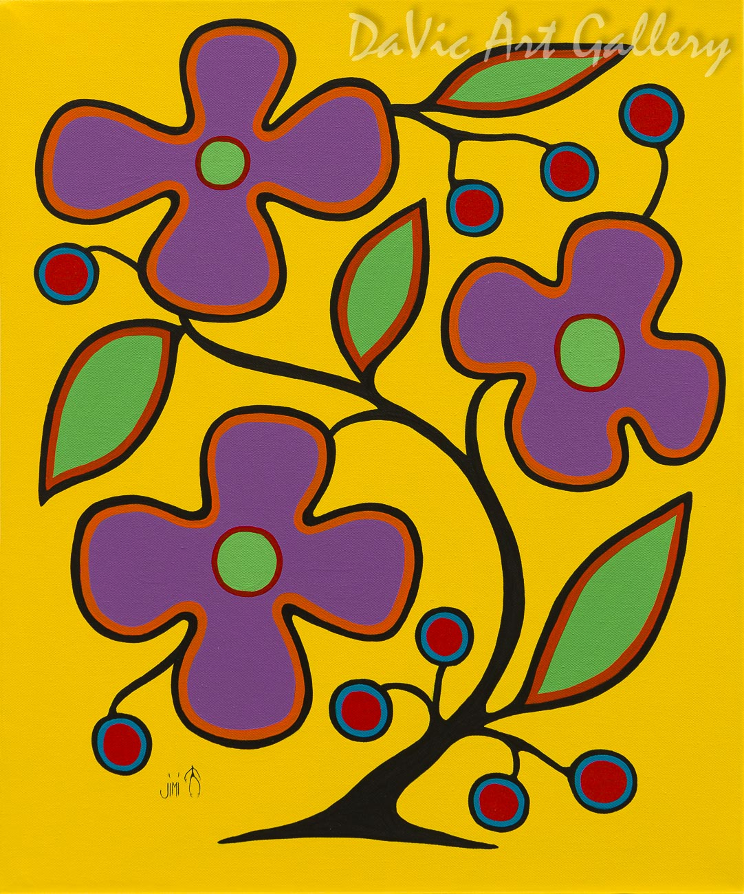 'Yellow Floral' by First Nations Ojibwe artist Jim Oskineegish