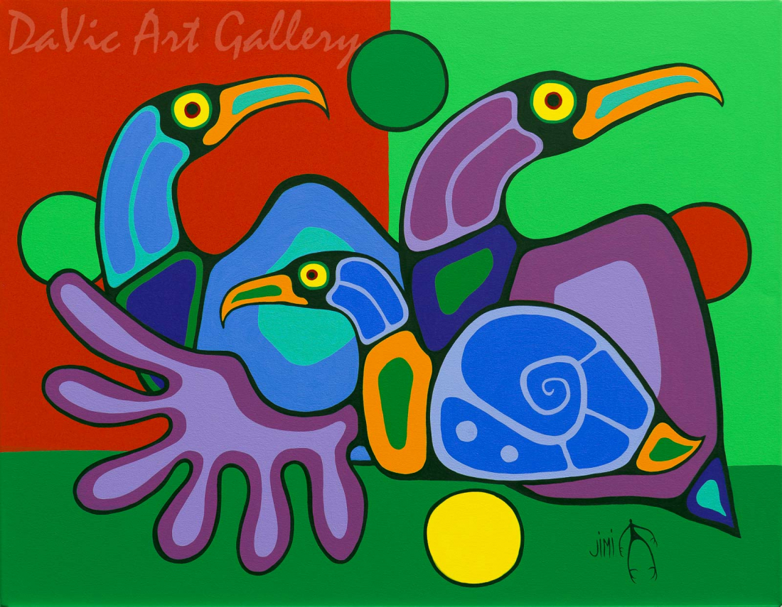 'Family' by First Nations Ojibwe artist Jim Oskineegish