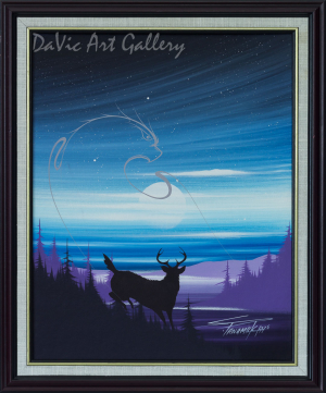 Untitled (Elk with Eagle Spirit) by Stanley Panamick - Woodland 1995