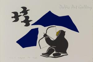 'Hunting Birds' by Rex Kangoak Goose - Inuit Art - Ulukhaktok (Holman) 1982