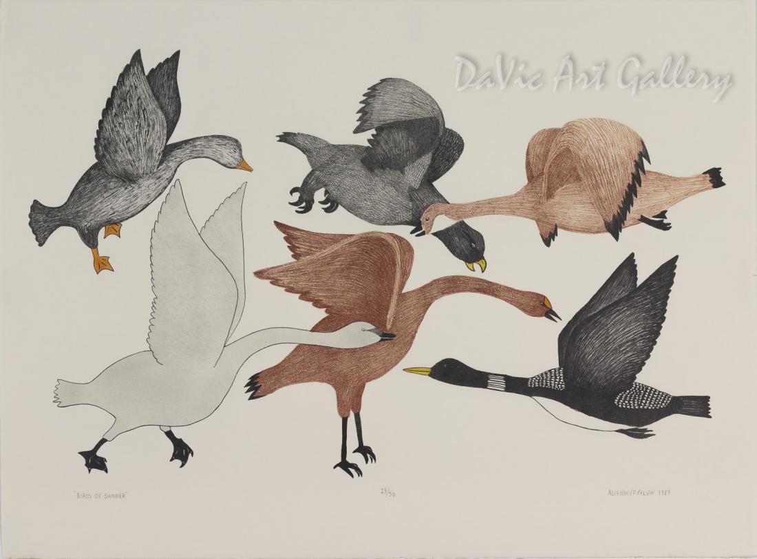 'Birds of Summer' by Peter Malgokak - Inuit Art - Ulukhaktok (Holman) 1994