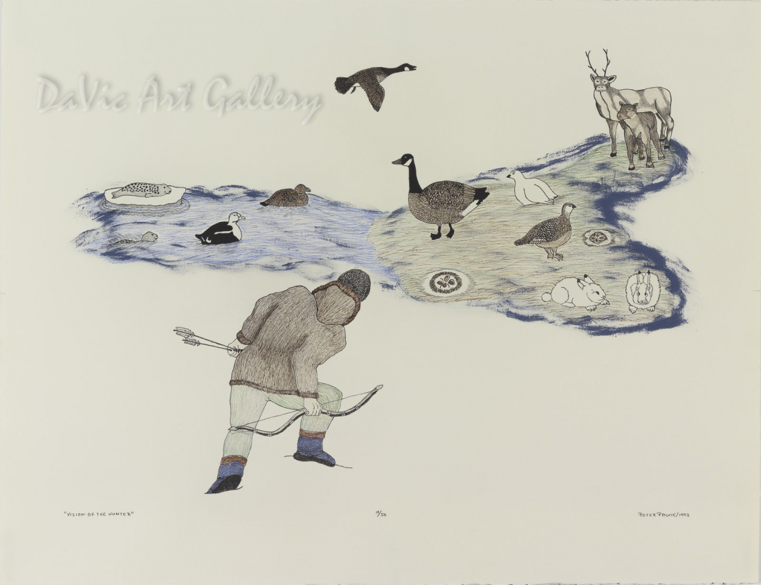 'Vision of the Hunter' by Peter Palvik - Inuit Art - Ulukhaktok (Holman) 1992