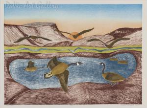 'Canada Geese' by Peter Malgokak - Inuit Art - Ulukhaktok (Holman) 1994