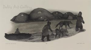 'Winter Seal Hunting Camp' by Peter Palvik - Inuit Art - Ulukhaktok (Holman) 1996
