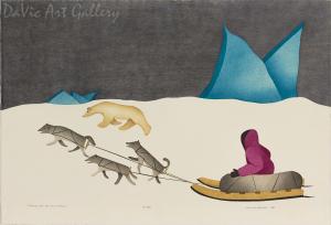 'Traveling by Nightfall' by Susie Malgokak - Inuit Art - Ulukhaktok (Holman) 1998