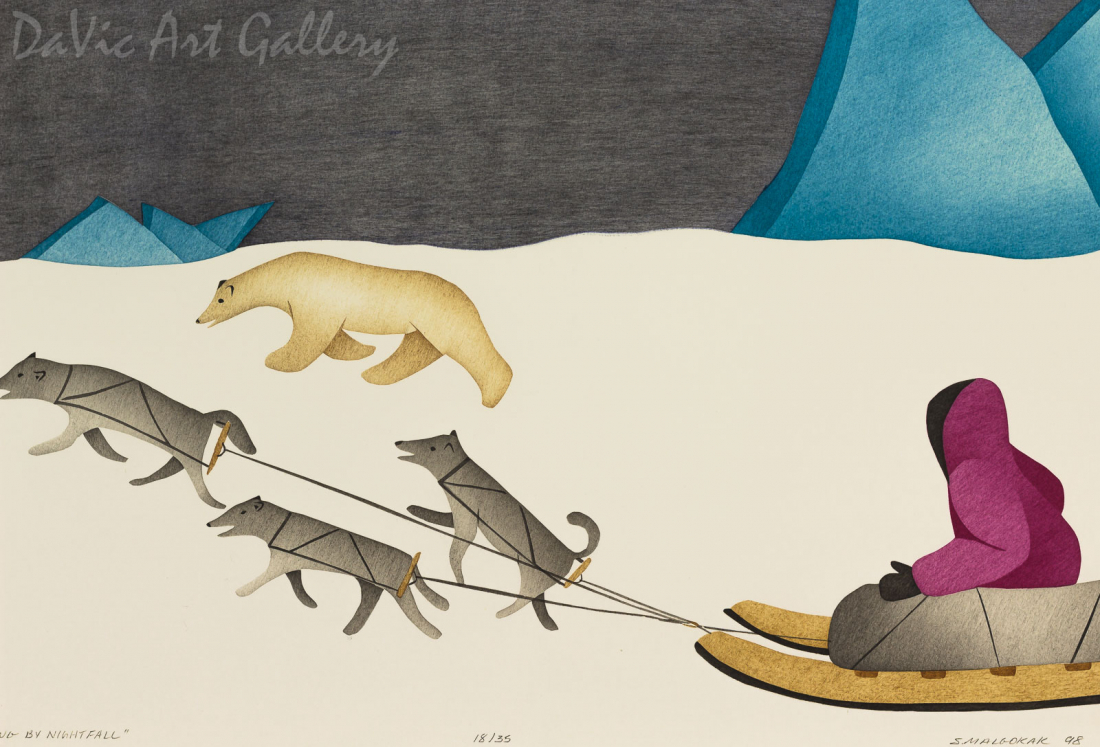 'Traveling by Nightfall' by Susie Malgokak - Inuit Art - Ulukhaktok (Holman) 1998