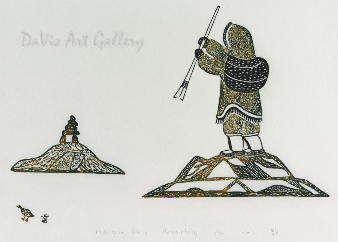 'Man Going Fishing' by Lipa Pitsiulak - Inuit - Pangnirtung 1974