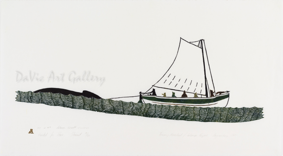 'Headed for Home' by Tommy Novakeel 1977 - Inuit - Pangnirtung