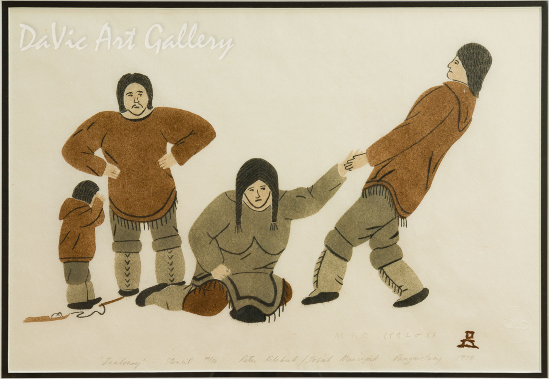'Jealousy' by Peter Kilabuk - Inuit - Pangnirtung 1978