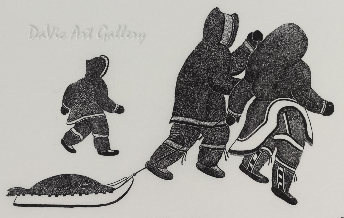 'Pulling Kamituk' by May Lonsdale - Inuit - Pangnirtung 1983