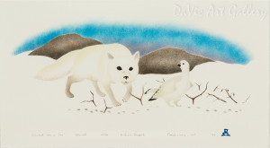 'Tracked by a Fox' by Andrew Qappik, RCA - Inuit Art - Pangnirtung 1994