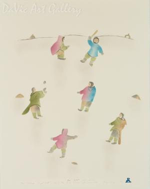 'Even Grownups Played Ball' by Annie Kilabuk - Inuit Art - Pangnirtung 1994