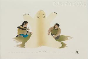 'Man and Wife Cleaning Polar Bear Skin' by Annie Kilabuk - Inuit Art - Pangnirtung 1994